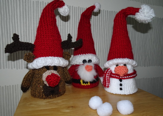 Knitted Christmas Cone Characters